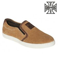 West Coast Choppers Shoes Outlaw Suede Slip-Ons Chestnut Slip-on Shoes NEW