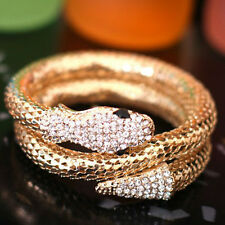 Women Vintage Retro Rhinestone Curved Jewelry Snake Cuff Bangle Bracelet Nimble