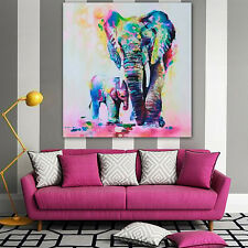 Multicolor Elephant Canvas Painting Frameless Pictures Living Room Decor Nimble