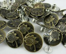 NEW Bronze Tone Rose Flower Pattern Jean Tack Buttons 17 x 8mm