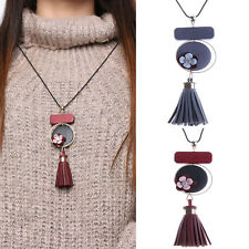 New Gray Leather Tassel Chunky Chain Flower Pendant Sweater Blouse Necklace Gift