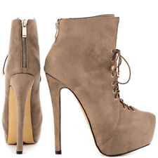 """LUICHINY ROSE ANNA TAUPE SUEDE 6"""" HIGH HEEL LACE UP POINTED TOE PLATFORM BOOTIE"""