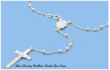 Sterling Silver 925 ROSARY NECKLACE MADE IN ITALY 3MM-LENGTH:18, 20, 24""