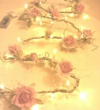 NEW CHIC PEARL Rose Garland with 30 LED Light Pale Pink/Cream Garland Decoration