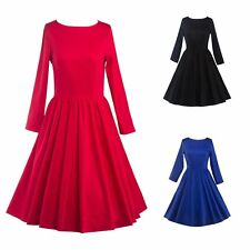 Vintage Style 1950s Swing Pinup Retro Cocktail Party Housewife Dress Long Sleeve