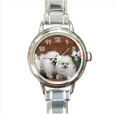 Cute Pomeranians Puppy Dogs Italian Charm Watch (Battery Included)