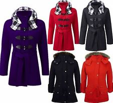 Ladies Womens Luxuary Fleece Trench Parka Jacket Coat Faux Fur Hooded Plus Size