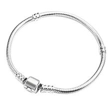 Womens Silver Plated Snake Chain Barrel Clasp Bead Charms Bangle Bracelet Nimble
