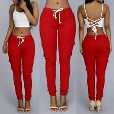 New Womens Casual Slim Fit Stretch Skinny Pencil Pants Trousers Leggings