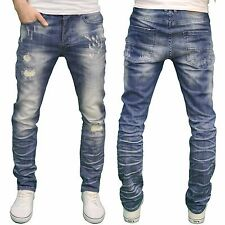 Eto Mens Designer Ripped Distressed Stretch Regular Tapered Fit Jeans, BNWT