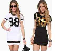 Charming Women Ladies Round Neck Casual Short Sleeve 98 Printed Slim Sexy Dress