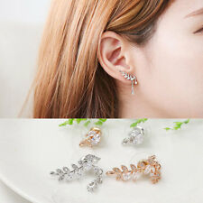 Exquisite Zircon Plated Leaves Irregular Earrings Women Beautiful Earrings AU
