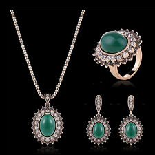 Women Big Turquoise Pendant Necklace Earrings Knuckle Ring Jewelry Set Nimble