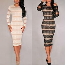 Fashion Women Sexy Bodycon Lace Evening Cocktail Party Long Sleeve Short Dress