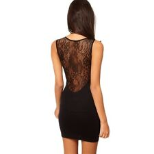 Hot Sexy Women Lace Mini Dress Cocktail Black Hollow out Skirt Clubwear QT