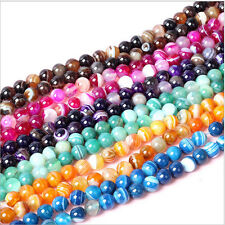 """Wholesale Lots Color Natural Stripe Agate Onyx Gems Round Loose Beads Stone 15"""""""