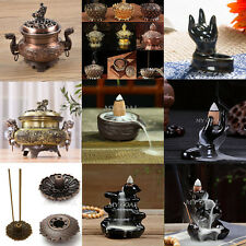 Ceramic Glaze Incense Burner Holder Buddhist Lotus Cone Smoke Backflow Censer