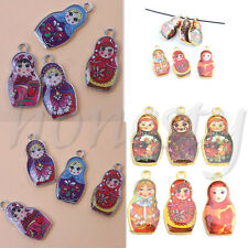 5/10 Two-Sided Mixed Enamel Russian Doll Charm Pendant Finding Making 27x14mm