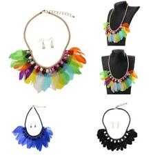 Boho Feather Tassel Crystal Beads Tribal Necklace Earrings Sets