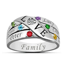925 Sterling Silver Mom Ring Personalized Birthstone Engraved Ring Family Friend