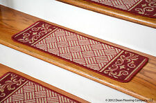 Dean Washable Non-Skid Carpet Stair Treads - Cranberry Scroll Border