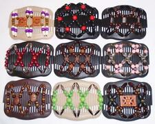 Double Magic Hair Combs, Stretchy Wood Beaded Clips, Butterfly, MultiColors,S29