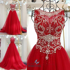 Red A-line Bridal Dress Tulle Formal Evening Dress Beaded Fancy Prom Party Dress