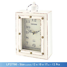 Shabby Chic Cream OR Black Wooden Vintage Style Carriage Mantle Clock
