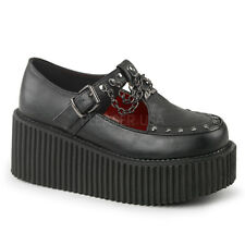 "Demonia CREEPER-215 Black Vegan Leather 3"" Platform T-Strap Creeper Side Cutout"