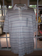 MENS CUTTER BUCK signature collection POLO GOLF SHIRT LARGE WHITE stripe COTTON