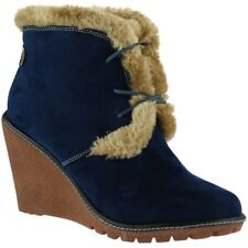 Pixie Emily Wedge Heel Ankle Boots - Navy