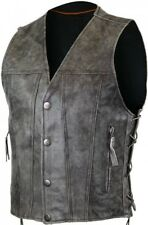 Mens Biker DISTRESSED GRAY Premium Leather CONCEALED CARRY Motorcycle Vest LACES