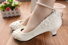 White lace Wedding shoes pearls ankle trap Bridal flats low high heels size