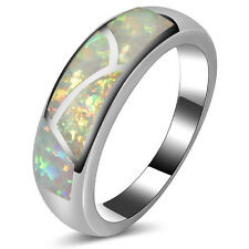 White Fire Opal Ring 925 Sterling Silver Wedding Ring Size 5 6 7 8 9 10 11