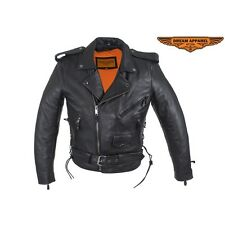 Mens Classic Police Style Motorcycle Jacket With Side Laces And Gun Pockets