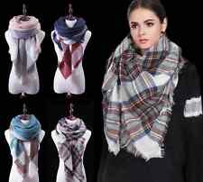 Women Plaid Winter Scarf Cashmere Cotton Blend Triangle Shape Shawl Pashmina
