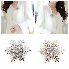 Women Golden/Silver Plated Snowflake Metal Rhinestone Pin Brooch Wedding Decor
