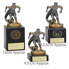 "Football & Footballer Trophy Award 3 Sizes on Marble Bases"" FREE ENGRAVING"""
