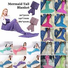 ADULT KIDS Mermaid Tail Hand Crocheted Cocoon Sofa Knitting Rug Quilt Blankets