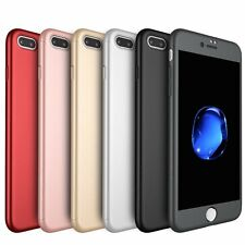 Thinnest Hard 360° Full Protective Case +Tempered Glass For iPhone 5 6 6S 7 Plus