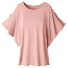 Women's Summer Rayon Batwing Sleeve O-Neck Beach Party Clubwear Top T-shirt Plus