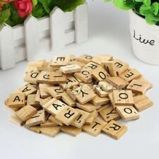 100 pcs Wooden Alphabet for Scrabble Tiles Black Letters&Numbers For Crafts LS#