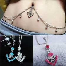 Crystal Dangle Navel Belly Button Ring Bar Waist Chain Body Piercing Jewelry
