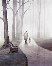 Old Man Walking his Dog in Rain watercolor painting giclee print