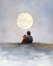 A Boy, his Dog, and a Full Moon watercolor painting giclee print