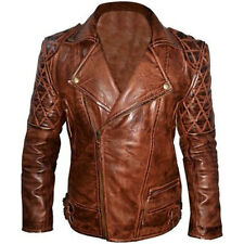 Diamond ClassicVintage Biker Brown Leather Jacket - All Sizes are Available