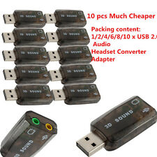 Chic USB 2.0 Audio Headset Microphone Jack Converter Sound Card Adapter Lot OL