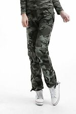 Womens Combat Military Army Green camouflage Camo Cargo Pants Casual Trousers