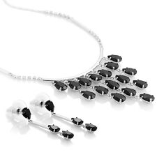 Janeo Set Swarovski Elements Crystal Necklace Earring Pear Drop Anniversary Gift