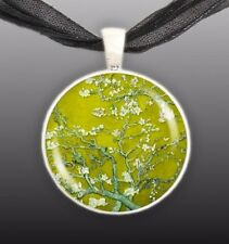 "Almond Tree Branches w/ Flowers in Yellow Van Gogh Painting 1"" Pendant Necklace"